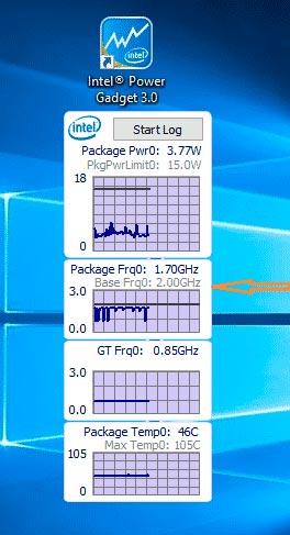 Проверка быстродействия Windows 10 Intel power gadget