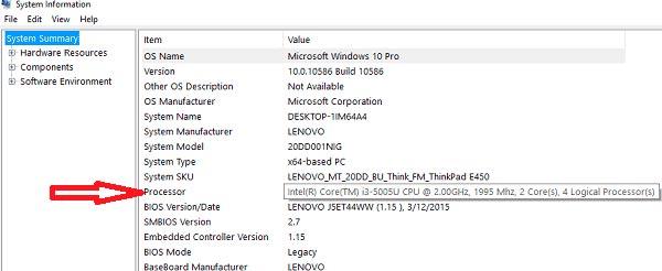 Скорость процессора и количество ядер Msinfo32