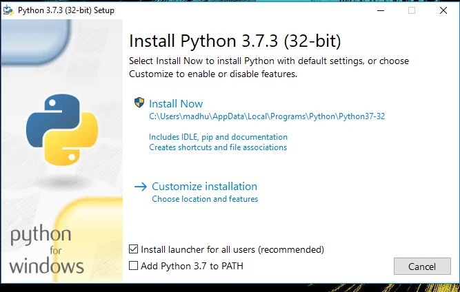 Установка Python на Windows 10